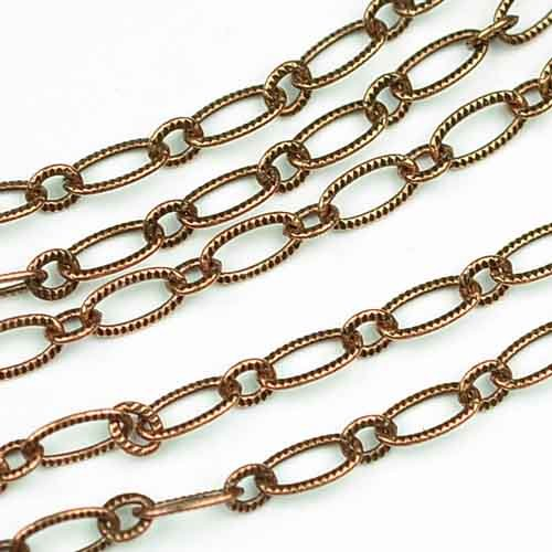 Chainologie Antique Copper Chain _#49: 3x6.5mm Textured Elongated Flat Cable Chain (per Yard/per 3 feet)