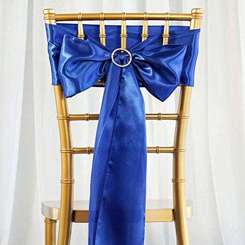 (Efavormart 25pcs Royal Blue Satin Chair Sashes Tie Bows for Wedding Events Decor Chair Bow Sash Party Decoration Supplies 6 x106)