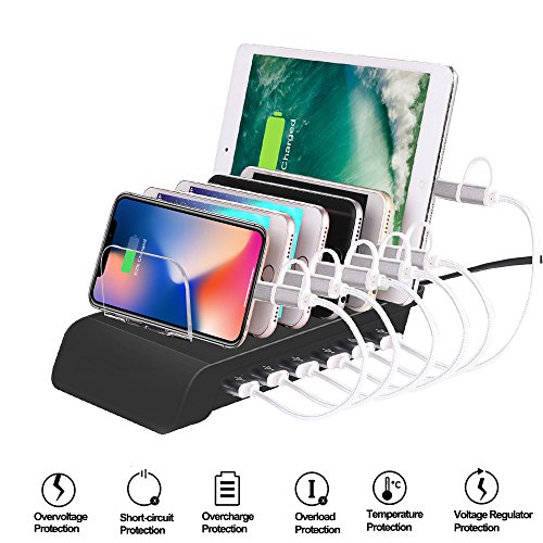 MroTech 6 Port USB Multi Device Charging Dock Station Universal Fast Charger Stand Desktop Organizer for Apple iPhone iPad kindle Tablet Android and Type C charged - Black by MroTech