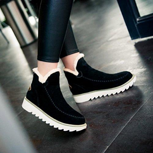 … Planos Zapatos Invierno Negro CáLida De Forro con De Piel Mujer Nieve Botines Toamen De SROwdqSC
