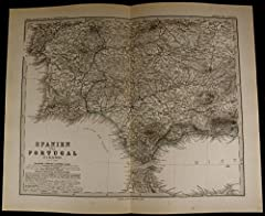 Spanien und PortugalSpain Portugal- Strait of Gibraltar- Lisbon- Tangiers- Seville Printed 1879, Gotha, Germany by Perthes for Stieler.Very detailed and precisely engraved old German map made in the 19th century. With original hand color. In ...