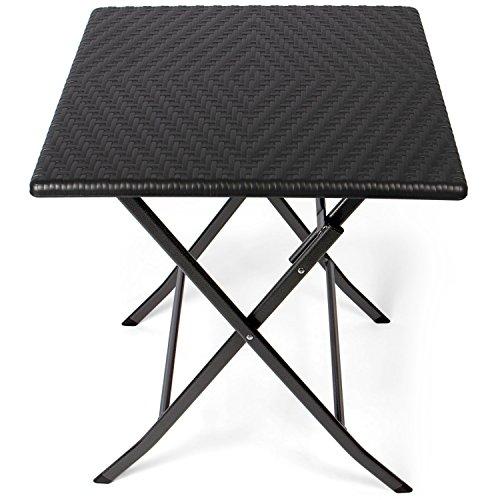 Park Alley - Table d\'appoint pour extérieur - Table de Jardin carrée en  Rotin synthétique - Pliable et ultra compacte - Structure en acier -  Parfait ...