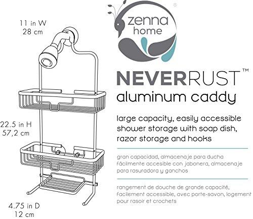 Zenna Home NeverRust Rustproof Aluminum Shower Caddy Satin Chrome