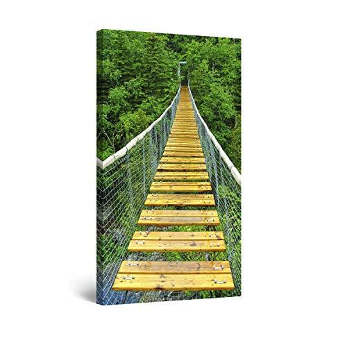 STARTONIGHT Canvas Wall Art Jungle Bridge - Green Framed 24 x 48 Inches ()