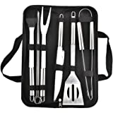 9Pcs/Set Stainless Steel Barbecue Grilling Tools Set BBQ Utensil Accessories Camping Outdoor Cooking Tools Kit with Carry Bag
