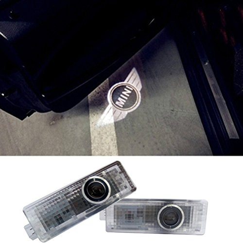 AMINEY 2 Pcs Door Light Car Vehicle Ghost LED Courtesy Welcome Logo Light Lamp Shadow Projector For Mini Cooper, Easy Installation ...