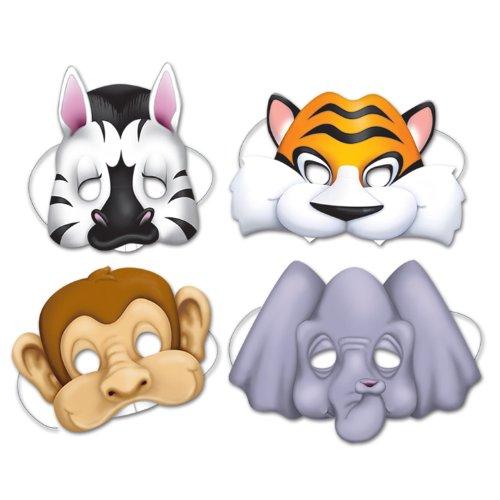 Jungle Animal Masks 4 Pkg