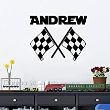 "Personalized Name Vinyl Wall Decals Checkered Flag Decal Custom Boys Room Sports Decor Teens Wall Decal (26"" h x 32"" w PLUS FREE WELCOME DOOR DECAL)"