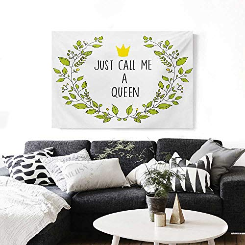 BlountDecor Queen Art-Canvas Prints Wreath Branches with Lettering Just Call Me Queen Little Crown Modern Wall Art for Living Room Decoration 32