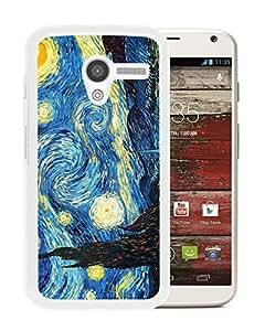 Custom Luxury Cover Case With Van Gogh Starry Nights White Moto X Case