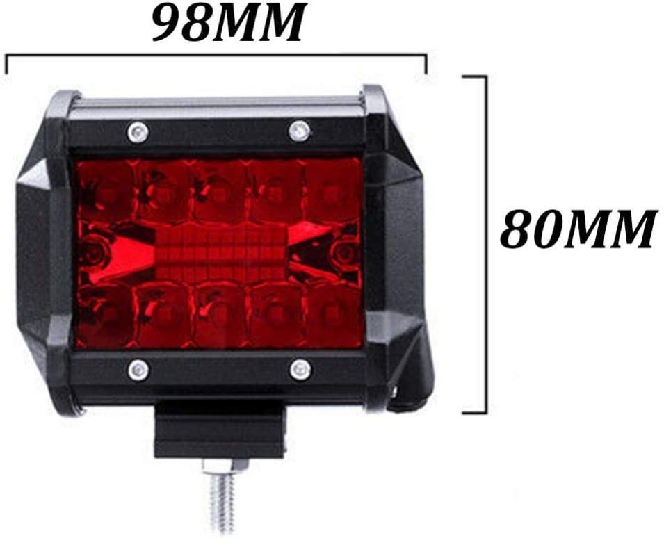 2 ST/ÜCKE Sucastle LED Arbeitslichtleiste 4 Zoll Rote LED-Lichtleiste Flutlicht-LED-Fahrlicht IP67 wasserdichte Offroad-Nebelscheinwerfer F/ür LKW-Boot