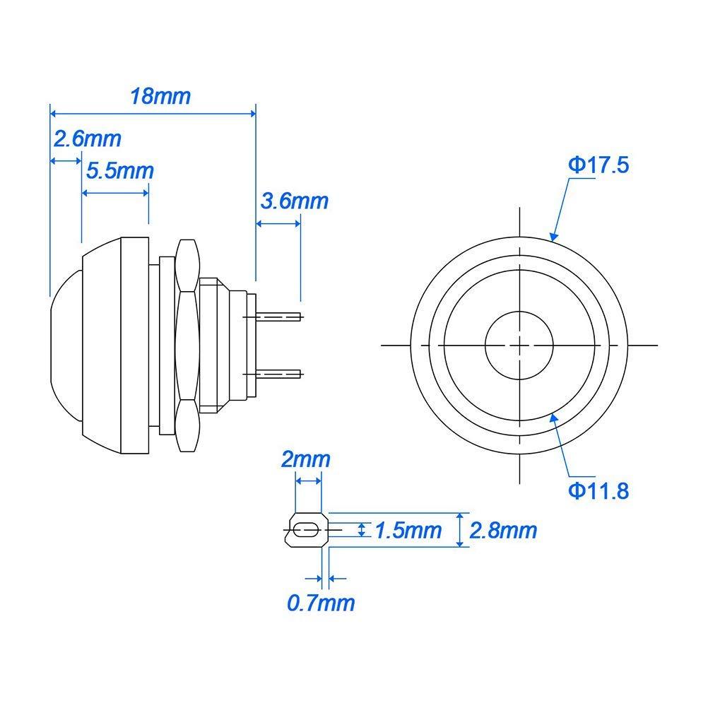 RUNCCI-YUN 12mm interruttore pulsante momentaneo,interruttore a pressione,interruttore on off,spst pulsante,interruttore pulsante rotondo,3A//250VAC, per Tromba Auto Lampada da Tavolo,(Con linea)