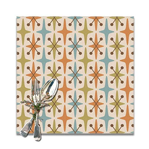 Yuteea Mid Century Modern Abstract Star Pattern Orange Brown Blue Olive Green Table Placemats for Dining Table,Washable Table mats Heat-Resistant(12x12 inch) Set of 6