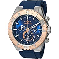 Men's 'Aviator' Quartz Stainless Steel and Silicone Casual Watch, Color:Blue (Model: 22523)