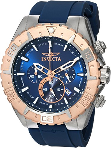 (Invicta Men's Aviator Stainless Steel Quartz Watch with Silicone Strap, Blue, 26 (Model: 22523)