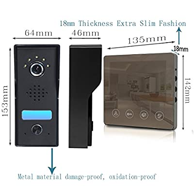 Video Doorbell - 4.3inch Monitor Metecsmart Camera Video Door Phone Intercom Kit 1-camera 1-monitor Night Vision Touch Button Screen
