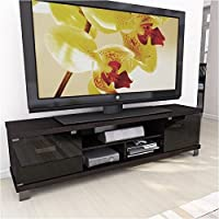 Pemberly Row 71 Extra Wide TV Stand in Ravenwood Black