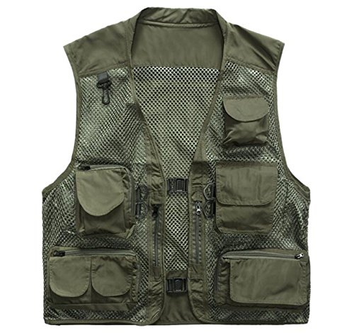 Men's Casual Tactical Vest Quick-Mesh Multi-Pocket Photography Fishing Vest Jacket,Green-L