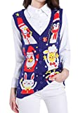 v28 Christmas Sweater Cardigan Ugly Women Vintage Cute Santa Penguin Knit Vest