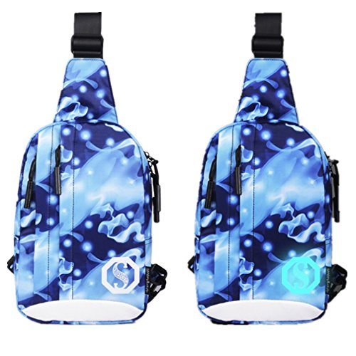 Sack sling Backpack Chest Shoulder Gym Unisex Tuduz Multicolor Unbalance Luminous Bike Bag N Waterproof Satchel Crossbody Noctilucent Pack Bags Bag Casual Outdoor Oxford OqTfqUw