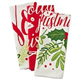 DII Cotton Christmas Holiday Dish Towels, 18x28 Set of 3, Decorative Oversized Kitchen Towels, Perfect Home and Kitchen Gift-Boughs of Holly