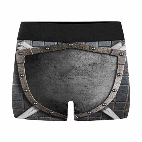 INTERESTPRINT Custom Men's Boxer Briefs Medieval Shield with Crossed Swords -