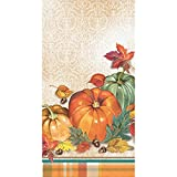 Party Central Brown and Green Pumpkin Printed Thanksgiving Decorative Guest Towel 16''