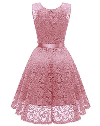Pink Dress Dress Lace Short Prom Aecibzo Neck V Party Bridesmaid Women Floral xPwqW78pO