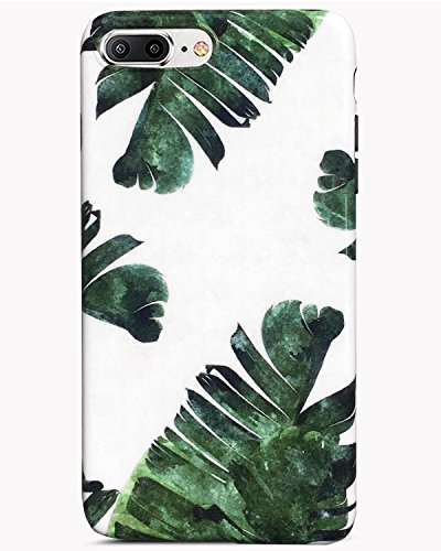 J.west iPhone 7 Plus Case iPhone 8 Plus Case, Palm Leaves Pattern Anti-Fingerprint Slim Shockproof Flexible Glossy TPU Soft Rubber Silicone Skin Cover Phone Case for iPhone 7 Plus & iPhone 8 Plus