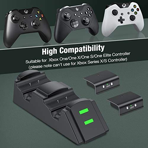Controller Charger for Xbox one, Controller Charging Station Compatible with Xbox One/ X/S/Elite, Dual Charging Dock with 2 x 1200mAh Rechargeable Battery Packs(Not Applicable for Xbox Series X/S)