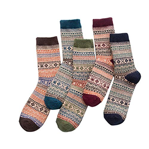 WUAI Men's Soft Breathable Casual 5 Pairs Knit Printed Warm Wool Socks Athletic Socks (B)