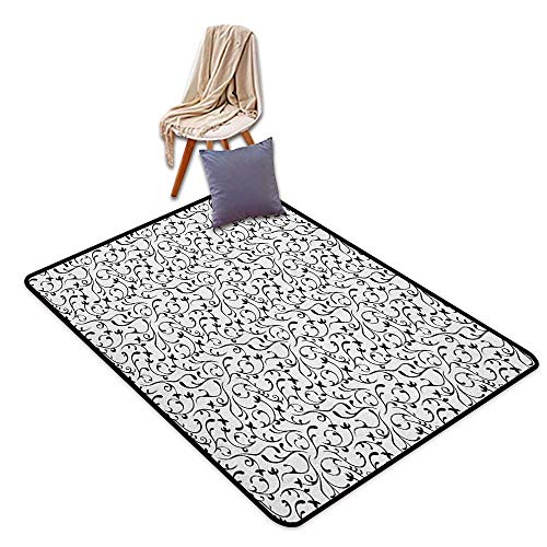 (Door Rug Area Rug Black and White Spring Themed Garden Pattern Monochrome Style Traditional Vintage Swirls Floor Bath Rug W6'xL7')