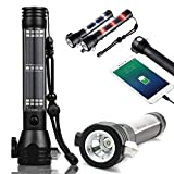 Lifesaver 2 Emergency Flashlight - Solar Powered Flashlight USB Torch Multi-Functional LED Light with Car Emergency Tool, Attack Hammer, Cutting Knife, Compass Etc. for Camping, Travel, Hiking Safety