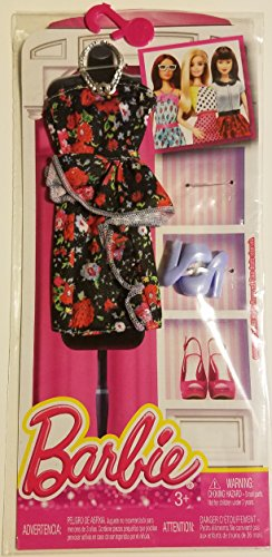 Barbie Seasonal Fashion Pack- Multi Color Flower Dress with Lilac Shoes