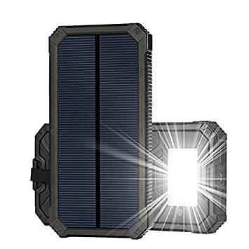 Cargador Solar, 15000mAh Panel Solar Cargador Portátil Impermeable Placa Solar Power Bank Compatible con Teléfonos Samsung, iPhone, Huawei, iPad, ...
