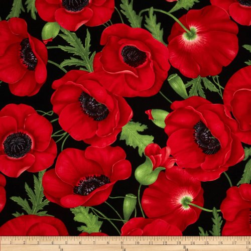 Timeless Treasures 0289410 Large Poppy Red Fabric by The Yard from Timeless Treasures