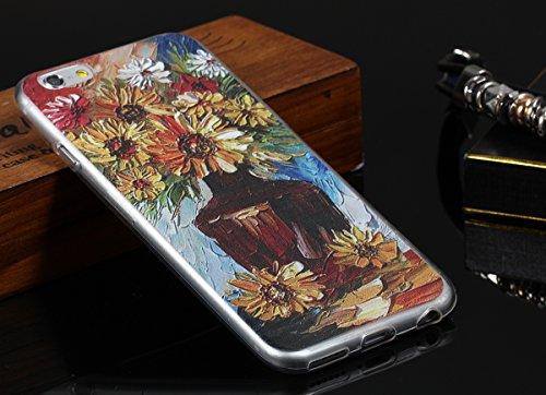 "JewelryWe schöne Chrysantheme Daisy Flasche Malerei Design TPU Silikon Handy Case Schutzhülle Tasche Hülle Rückenschutzhülle Etui für Apple iPhone 6(4,7""), Mehrfarbig"