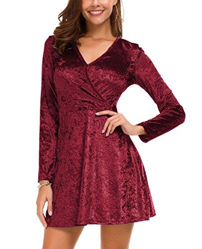 DGMYG Womens Elegant Long Sleeve V-Neck Velvet Flared A line Party Mini Dress