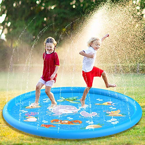 Fomatrade Sprinkler for Kids Toddlers,Splash Play Mat,Thickening PVC Inflatable Water Spray Pad Outdoor Garden Inflatable Sprinkler Water Mat Fun Toy Kids Baby Pool Pad Hot Summer Swimming Party