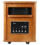 Rosewill RHWH-14002 1500 Watt Oak Wooden Cabinet Finish Room Space Heater with 6 Infrared Heating Element Tubes - ETL Certified Infrared Heaters Rosewill