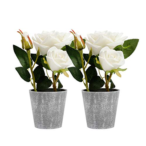 Azoco 9 Inch Artificial Rose Flowers in Pot Set of 2, Fake Silk Flower with vase Floral Arrangement for Farmhouse Home Office Table Centerpieces Bridal Wedding Indoor Party Decor