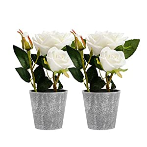 Azoco 9 Inch Artificial Rose Flowers in Pot Set of 2, Fake Silk Flower with vase Floral Arrangement for Farmhouse Home Office Table Centerpieces Bridal Wedding Indoor Party Decor 119