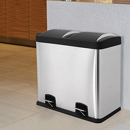 77 90 1 songmics 2 x 24 l poubelle double compartiment poubelle slecti - Poubelle 2 compartiment ...