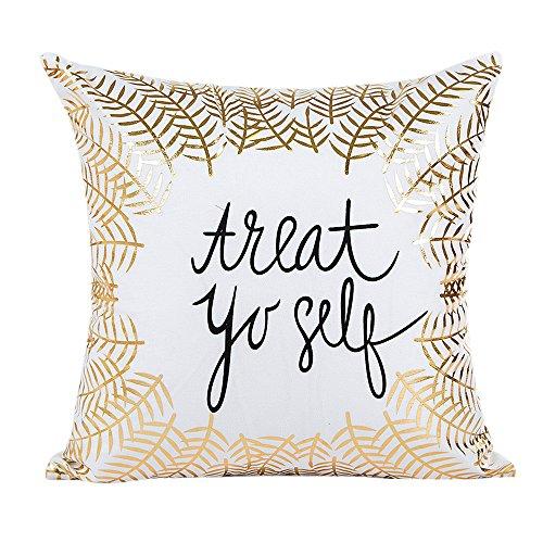 HAPPIShare Gold Foil Printing Pillow Case Sofa Waist Throw Cushion Cover Home Decor 18 x 18 Inch (Chairs Ikea Wicker)