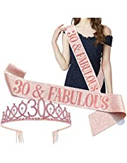 FUPPUO Birthday Set for Women Rose Gold Gillter Tiara Birthday Sash Glitter Gold Crown and Birthday Gifts Glitter Birthday Sash for Birthday Party Favors