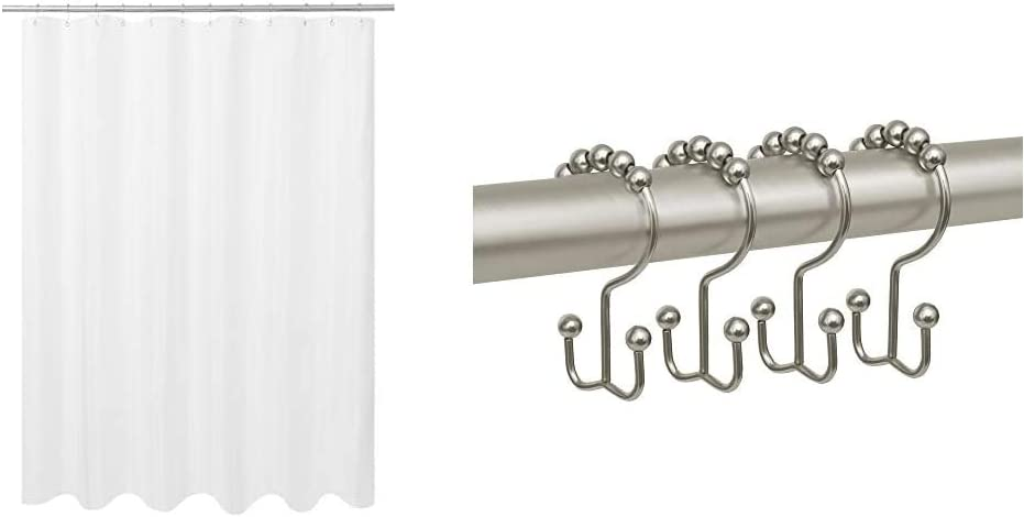N&Y HOME Ultimate Waterproof Fabric Shower Curtain or Liner & Breathable TPU, 72