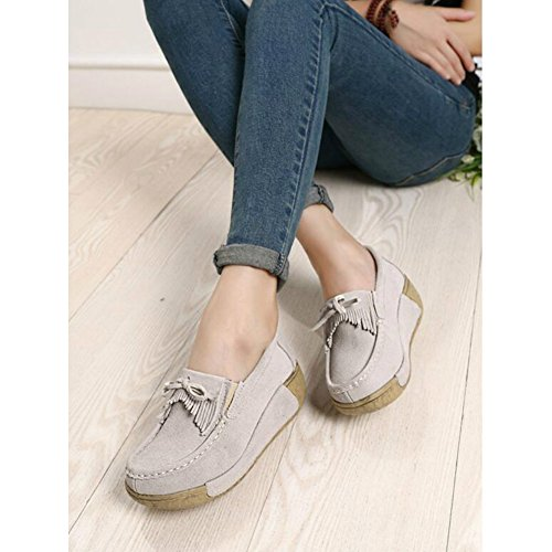 Saguaro Dames Platform Loafers Shape-up Walking Sneakers Suède Mocassins Rocker Zool Sleuven Kwast Schoenen Abrikoos