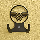 HeavenlyKraft Wonder Woman Logo Steel Wall Hook Dual Holder for Living Room Coat Hat Robe Hanger Bathroom Towel Kitchen Strong Heavy Duty Garage Storage Organizer Utensil Hook Single