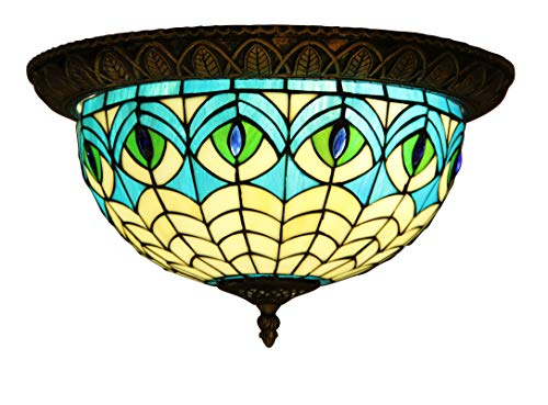 - Makenier Vintage Tiffany Mediterranean Style Stained Glass Blue Peacock Feathers Flush Mount Ceiling Light Fixture, 12 Inches Lampshade