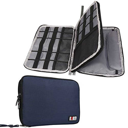 BUBM Double Layer Electronics Organizer/Travel Gadget Bag for Cables, Memory Cards, Flash Hard Drive and More, Fit for iPad or Tablet(up to 9.7)-Large, Dark Blue